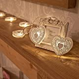 10 Metal White Heart String Lights with Timer and Warm White LEDs by Festive Lights