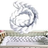 CXDIF Baby Braid Bed Bumper, Curved Kissen Bett Kissen Baby Krippe Bett Schlange Geflochtene Stoßstange Baby Safety Guard Weiß Grau Grün Pink ( Color : White, Size : 300cm )