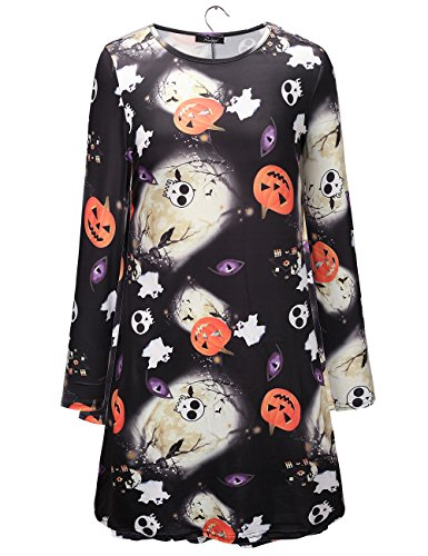 Halloween Scary Kleid Frauen Scary Party tragen Bodycon Langarm Swing Mid Dress (Scary Halloween Frauen Kostüme Für)