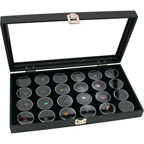 Findingking Coffret de présentation pour bijoux, couvercle en verre, 24 verres Schau pour pierres précieuses ou de perles, blanc