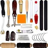 Kit de 32 Piezas de Herramientas de Costura a Mano Herramientas de Artesanía de Cuero Herramientas de Costura Incluye Dedal Punzón Hilo Encerado