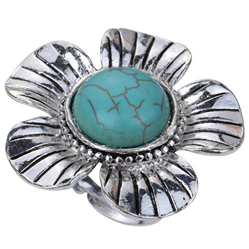 Forma Yazilind la vendimia de plata tibetana Ronda Rimous turquesa Flor Tallada Anillo Regalo Grande