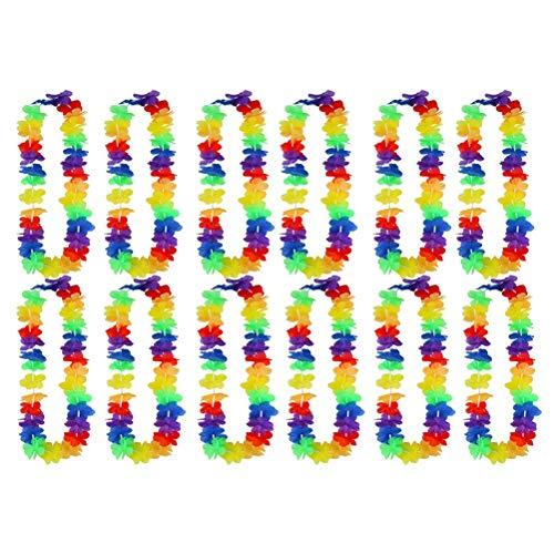 Toyvian Tropische Hawaiian Leis Halsketten Hawaiian Flower Lei für Beach Party Dekorationen, Geburtstag Party Favors 12 stücke (Monochrome)