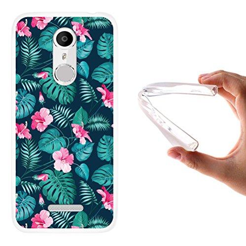 WoowCase Coolpad Torino S Hülle, Handyhülle Silikon für [ Coolpad Torino S ] Tropische Blumen 2 Handytasche Handy Cover Case Schutzhülle Flexible TPU - Transparent
