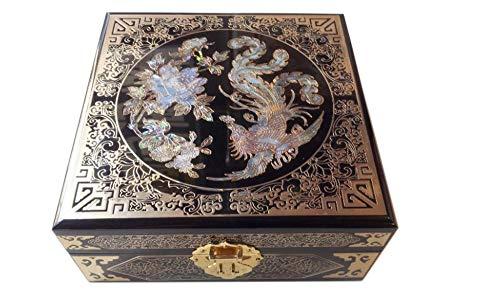 Wooden fish Chinesische Schmuckschatulle,Lack-Intarsien Kupferdraht Handwerk Schmuck Box Intarsien Feld chinesischen Aufbewahrungsbox,Chinesische Hochzeit Aufbewahrungsbox