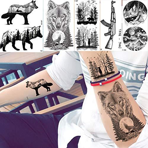 CIHKIKO 5 stücke Schwarz Männer Frauen Tattoo Body Art Tattoo Aufkleber Little Peak Wolf Malerei Unterarm Tattoos Wasserdicht Beweis Mond