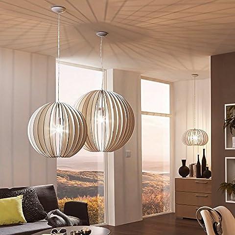 Light Trend Rift XXL Pendant Lamp with Wooden Shade Diameter 50cm White
