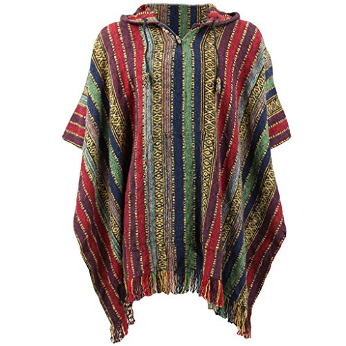 Loud Ponchos Herren Kapuzenpullover, Gestreift * One size Gr. One size, Red, Green & Navy