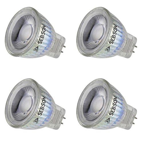 SEBSON LED Lampe GU4/ MR11 warmweiß 3W, ersetzt 20W Glühlampe, 220 Lumen, LED Spotlight 36°, 12V DC, ø35x40mm, 4er Pack -