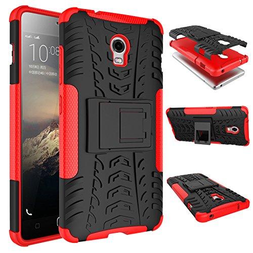 Nadakin Lenovo Vibe P1/P1c72 P1c58 P1a42 Hülle Schutzhülle Hybrid Rugged Phone Case Stoßfest Handys Schutz Cover mit eingebautem Kickstand Shockproof für Lenovo Vibe P1/P1c72 P1c58 P1a42 (Rot)