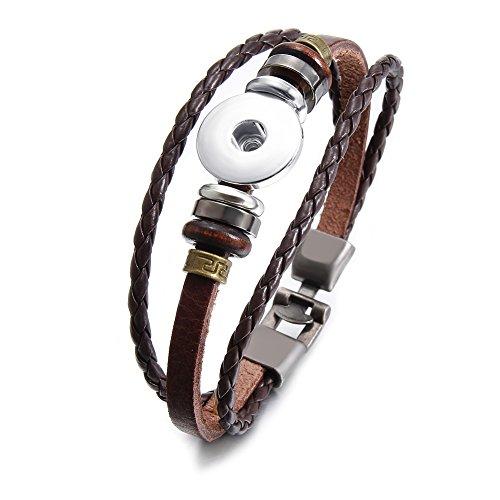 Soleebee Legierung PU Leder Armband Click Button Armband Passt 18-20mm Click Button (Kaffee) - Individuelle Kaffee-pakete
