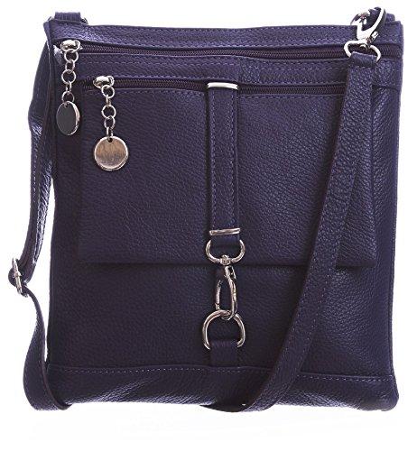Big Handbag Shop Borsa a tracolla Messenger tipo cross-over in autentico Pelle Italiana 24x26x3 cm (LxAxP) Purple (BG460)