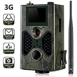 SUNTEKCAM Wild Camera 3G 1080P Full HD Caméra de Chasse Classique Détecteur de Mouvement Nocturne de Vision 0.3 Sec IP65 Infrarouge de déclenchement imperméable pour la Surveillance
