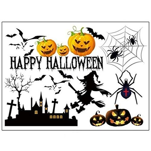 Ljlpropyh Wohnaccessoires Wanddekoration Wandaufkleber Halloween Kürbis Hexe Vinyl Wandtattoo Removable DIY Tapete Fenster Schlafzimmer Dekoration für Kinder Halloween Party Größe 50 * 70 cm