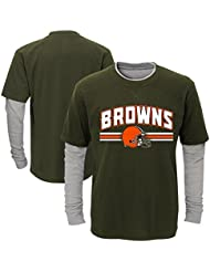 """Cleveland Browns Youth Jeunes NFL """"Bleachers"""" L/S Faux Layer Thermal Shirt Chemise"""