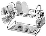 Escurreplatos de 2 niveles con soporte de 18 pulgadas para platos, tazas, vasos y cubiertos sobre el fregadero, color plateado cromado