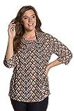 Ulla Popken Femme Grandes tailles   Tunique longue imprimé carreaux plis manches 3/4 femme   712031