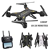 Drohne mit Kamera, Wifi 1080P HD Kamera Live Video und GPS Return Home 2,4 GHz 4 CH 4 Achsen Gyro RTF RC Quadcopter-Follow Me, Höhe halten, intelligente Batterie, lange Steuerdistanz
