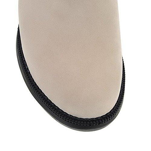 VogueZone009 Damen Hoher Absatz Hoch-Spitze Eingelegt Ziehen Auf Stiefel Cremefarben