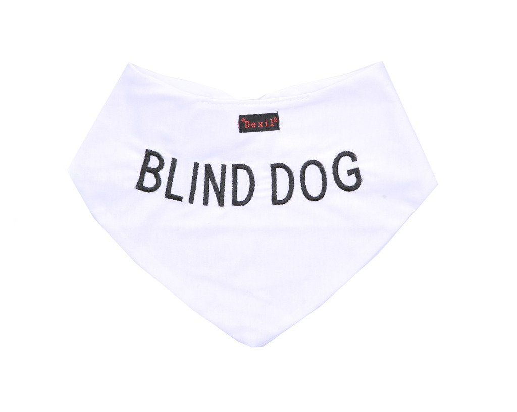 BLIND DOG White Dog Bandana Quality Personalised Embroidered Message. Neck Scarf Fashion Accessory. PREVENTS Accidents By Warning Others Of Your Dog In Advance