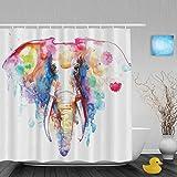 Duschvorhang, Motiv Afrikanischer Elefant, Malerei, für Badezimmer, Dusche, hohe Qualität, Polyester, farbbeständig, wasserdicht, 152,4x 182,9cm, Multi2, 72'(Width)x72'(Length)