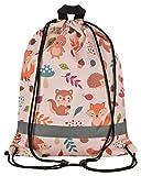 Aminata Kids - Kinder-Turnbeutel für Junge-n und Maedchen mit Safari Waldtier-e Dschungel Afrika Zoo-Tier-e Sport-Tasche-n Gym-Bag Sport-Beutel-Tasche beige