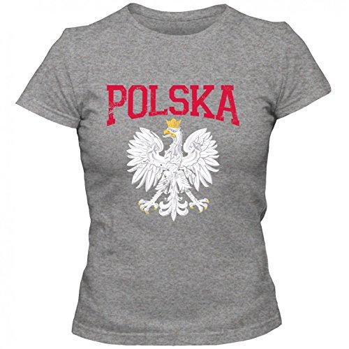 Polen Wappen Premium T-Shirt | WarschauShirt | Warszawa | duda | Frauen | Shirt Graumeliert (Grey Melange L191)