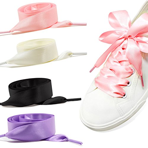 GWHOLE Donne di Modo Satin Lacci per Scarpe Solide Casual Flat Satin Ribbon Shoelaces Sneaker Shoestrings per le Donne Ragazze