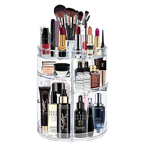 alvorog Make-up-Organizer Kosmetik-Aufbewahrungsbox, 360 Grad Drehbar Große Kapazität, Einstellbar, für Pinsel, Lippenstifte, Cremes, Nagellack und Schmuck kristallklar -