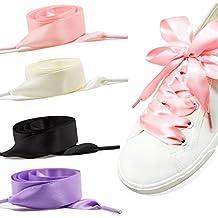 GWHOLE Donne di Modo Satin Lacci per Scarpe Solide Casual Flat Satin Ribbon  Shoelaces Sneaker Shoestrings 1e50eacd8c0