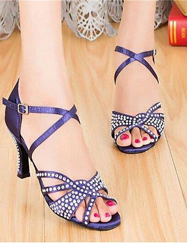 ShangYi Chaussures de danse(Violet) -Personnalisables-Talon Personnalisé-Satin-Latine / Salsa / Samba Purple