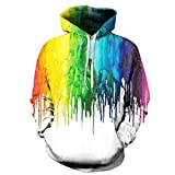 Unisex Paare Rainbow Color Hooded Sweatshirt 3D gedruckt Quick Dry Sweat Shirt Langarm Hoodie Taschen Top WY-225