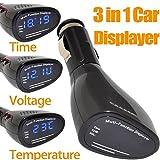 PolarLander 3 en 1 voiture allume-cigare de type multifonction Displayer voiture Horloge numérique Thermomètre électronique Tension Mètre