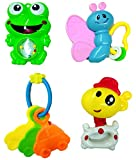 #3: Blossom Baby Teethers Rattle Toy (Set of 4 Pcs) with Various Exciting Rattle Toys for New Borns,Toddlers & Infants, Multi Color