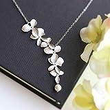 Kongnijiwa Mode Orchideen-Blumen-Form-Anhänger, Gold, Silber überzogene Blumen-Halsketten-Charme-Schmucksachen für Frauen-Mädchen