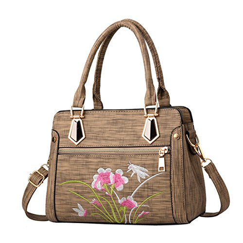 Italily donne borsetta fiore cerniera borsa a tracolla messenger bag borsa a tracolla borse a mano borse a tracolla in pelle pu spiaggia borsa borsa shopper per e le ragazze (cachi)