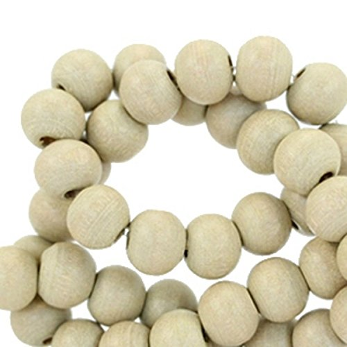 Sadingo Bunte Holzperlen, Holzkugeln durchgebohrt - 50 Stück - 6 mm - Schmuck basteln wie Armbänder, Ketten - Bastelperlen, Farbe:Cedar Beige