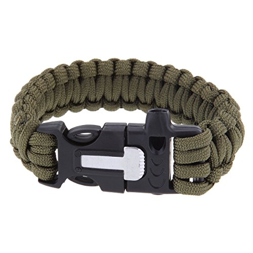 Multifunktions im freien überleben Paracord Armband w / Feuerstein Feuer Starter Schaber Pfeifen Kit - Armee grün Boolavard TM (Armee-feuer-starter)