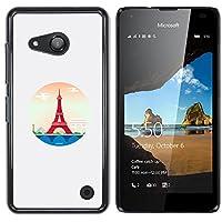 NOKIA Lumia 550 - Aluminum Metal & plastica dura Phone caso - nero - Parigi Torre Eiffel Red Circle Piramide Las Vegas