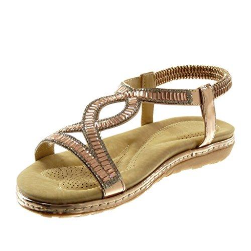 Angkorly Chaussure Mode Sandale Slip-On Salomés Lanière Cheville Femme Strass Fantaisie Finition Surpiqûres Coutures Talon Plat 3 cm Champagne