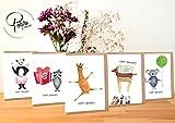 Geburtstagskarte lustig Happy Birthday Tiere 5er Set - Handmade in Hamburg - 100% Recyclingpapier – Glückwunschkarten-Set mit Umschlag Geburtstag Geburtstagsgeschenk Geburtstagskarten Glückwunschkarte Grußkarte Einladung Geschenkkarte