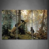 Bears Giocare In foresta Rotto Albero Pittura di arte della parete La stampa su tela di canapa Animale Quadri d'illustrazione per l'ufficio domestico Decorazione moderna
