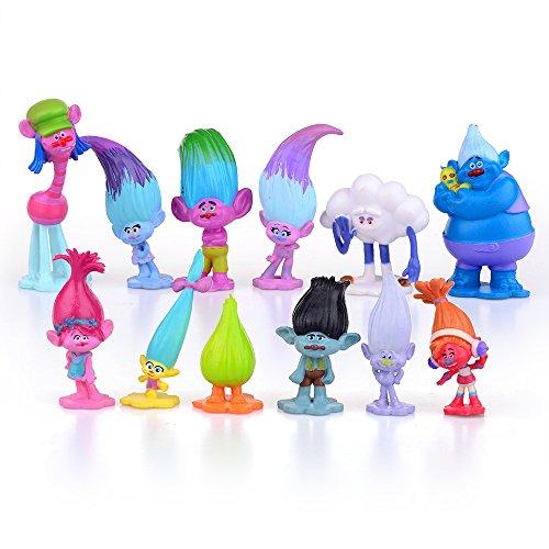 Kuchenaufsätze Trolle aus Dreamworks-Filmen, 12 Mini-Figuren zum Sammeln, Größe 3–7 cm.