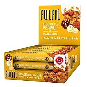 FULFIL Vitamin and Protein Snack Bar (15 x 40g Bars) — Chocolate Peanut & Caramel Flavour — 15g Protein, 9 Vitamins, Low Sugar