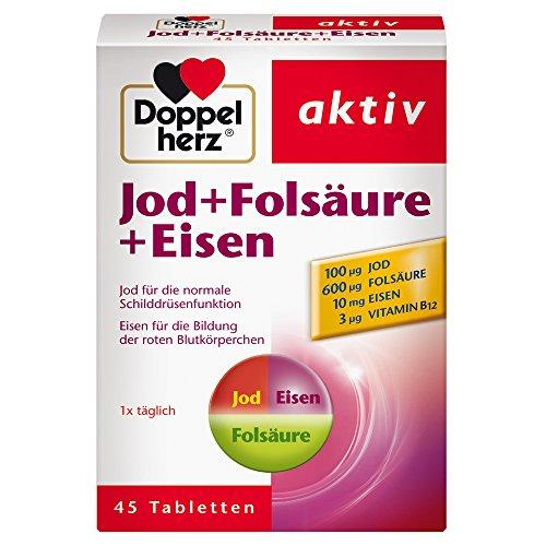 Doppelherz Jod + Folsäure + Eisen - Mit Jod zur Unterstützung der normalen Schilddrüsenfunktion - 1 x 45 Tabletten -