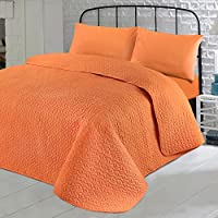 Elegant Nimsay Home Soft Plain Colour Quilted Bedspread Throw Embroidered Embossed  Coverlet   Orange   200x200cm