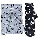 2pcs 55*70cm Couverture Polaire Polyester Plaid Tapis Motif Pattes pour Chat Chien Chiot Animaux (Noir + Gris)