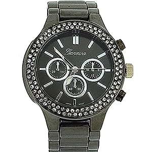 Geneva Gun Metal Chrono Effect Stone Set Bezel Ladies Bracelet Watch GE0741