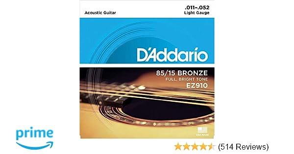 D'Addario EZ910 Bronze Light ( 011- 052), 85/15 Acoustic Guitar Strings