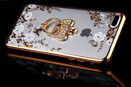 Etsue Glitzer Silikon Schutz HandyHülle für iPhone 7 Plus (5.5 Zoll) 2016 Strass TPU Hülle, Luxus Electroplate Schmetterling Blume Gold Rahmen [mit Ring Halter Ständer] Glitzer Glanz Diamant Silikon H Weiß Blume,Krone,Gold